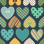 Seamless pattern of scrapbook hearts — Stock Vector