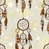 Seamless pattern of American Indians dreamcatcher — Stock Vector