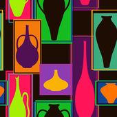 无缝模式的丰富多彩的陶器 — 图库矢量图片