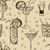 Retro seamless pattern of cocktails — Stock Vector