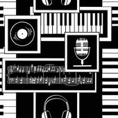 Seamless pattern of musical attributes — Stockvektor