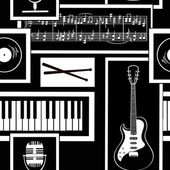 Seamless pattern of musical attributes — Stock Vector