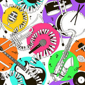 Seamless pattern of musical instruments — Stock Vector