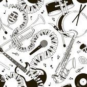Nahtlose muster von musikinstrumenten — Stockvektor