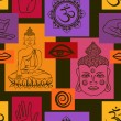 Seamless pattern of Buddhism signs — Stock Vector