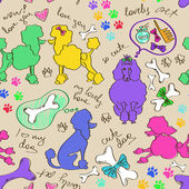Seamless pattern of poodle dogs — Vecteur