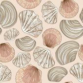Seamless pattern of seashells — Stock Vector