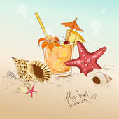 Illustration with seashells, starfish and cocktail — Stock Vector
