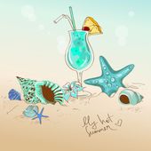 Illustration with seashells, starfish and cocktail — Wektor stockowy