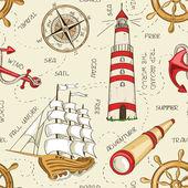 Nautical seamless pattern — Stock Vector