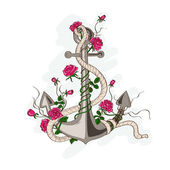 Anchor entwined with rose flowers — Stock Vector