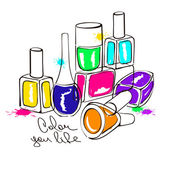 Illustration with nail polish bottles — Stock Vector