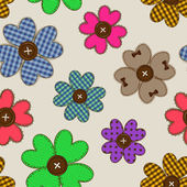 Seamless pattern of flower patchworks  — Stock Vector