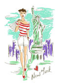 Fashion girl in New York — Stock Vector