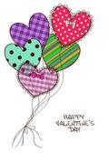 Card with scrap booking heart air balloons — Stock Vector