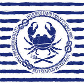 Seafood restaurant emblem with crab — Stock Vector