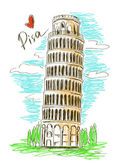 Illustration of Pisa tower — Vector de stock