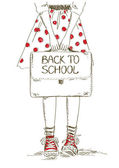 Back to school illustration with girl — Vector de stock