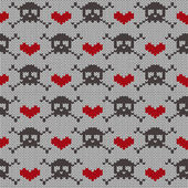 Knitted seamless pattern with skulls — Vector de stock