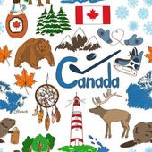 Sketch Canada seamless pattern — Stock Vector