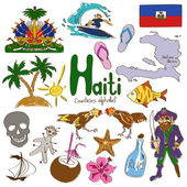 Collection of Haiti icons — Stock Vector