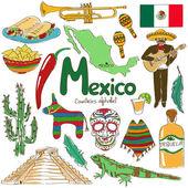 Collection d'icônes de mexique — Vecteur