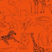 Seamless pattern of animals — Stock Vector