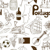 Sketch Portugal seamless pattern — Stock Vector