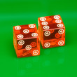 Casino Dice on Green Background — Stock Photo