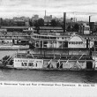 Old Paddle Wheel steam boats postcard 1907 — Stock Photo