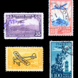 Airplane Stamps from around the world - Stock Photo