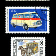 Ambulance Postage Stamp red cross van images - Stock Photo