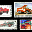Foto Stock: Fire Trucks on Postage Stamps international