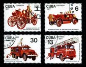 Antique Fire Trucks Prevention Stamps — Stock Photo