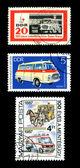 Ambulance Postage Stamp red cross van images — Stock Photo
