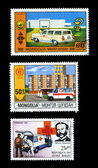 Ambulance Postage Stamp Red Cross — Stock Photo