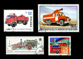 Fire Trucks on Postage Stamps international — Stock Photo
