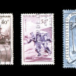Foto de Stock  : Sports Stamps Isolated on Black