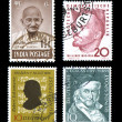 World Postage Stamps Historic Fame Ghandi — Stock Photo