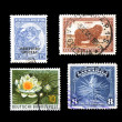 World Stamps Isolated on Black — 图库照片