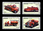 Historic Fire Vehicles Postage Stamp — Stock Photo