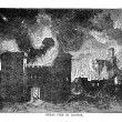 Royalty-Free Stock Photo: Vintage Woodcut Artwork Great Fire London