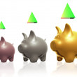 Three Little Piggy Banks — Stock Photo