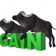 Illustration Double bull gain — Stock Photo