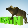 Illustration Bull Gain green — Stock Photo