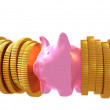 Pink Piggy Financial Squeeze — Stock Photo