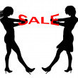 Illustration ladies sale tugging — Stock Photo #32972787