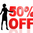 Illustration fifty percent off lady red — Stock Photo #32972789