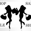 Girl shopping lady silhouette llustration twins — Stock Photo #32972853