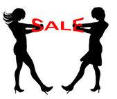 Illustration ladies sale tugging — Stock Photo